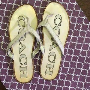 Coach White Croc Print Flip Flops